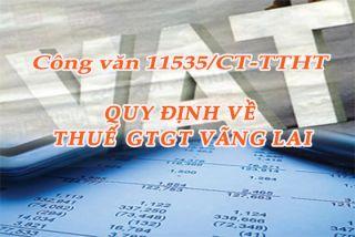 Công văn 11535/CT-TTHT của Cục Thuế TPHCM quy định về thuế GTGT vãng lai