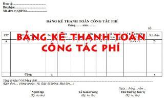 Mẫu bảng kê thanh toán công tác phí