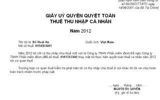 Mẫu giấy ủy quyền quyết toán thuế TNCN Mẫu số 04-2/TNCN