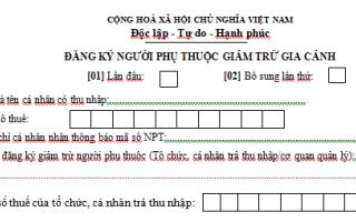 Mẫu số 16/ĐK-TNCN  mẫu tờ khai đăng ký người phụ thuộc để giảm trừ gia cảnh.